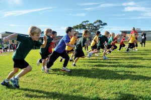 Students in running race