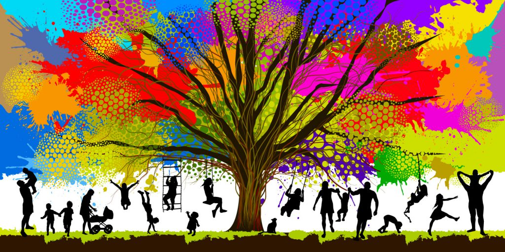 Artwork of colourful tree