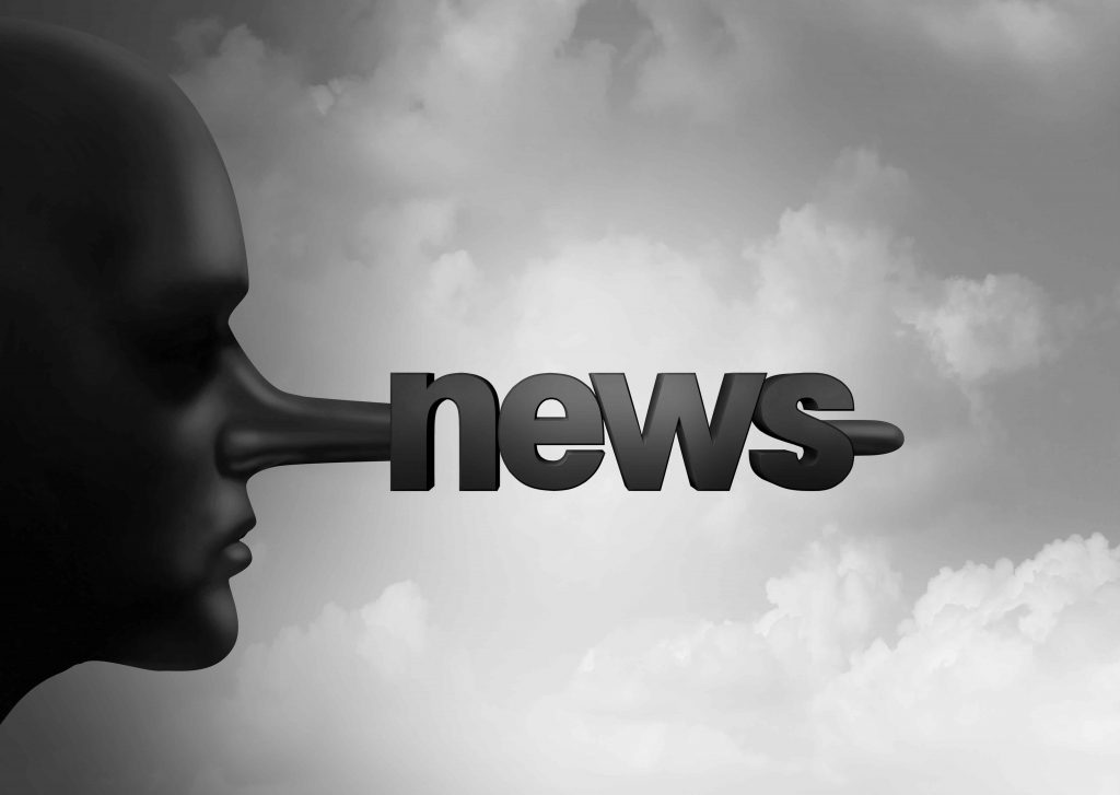 illustration shows long nose made up of word news