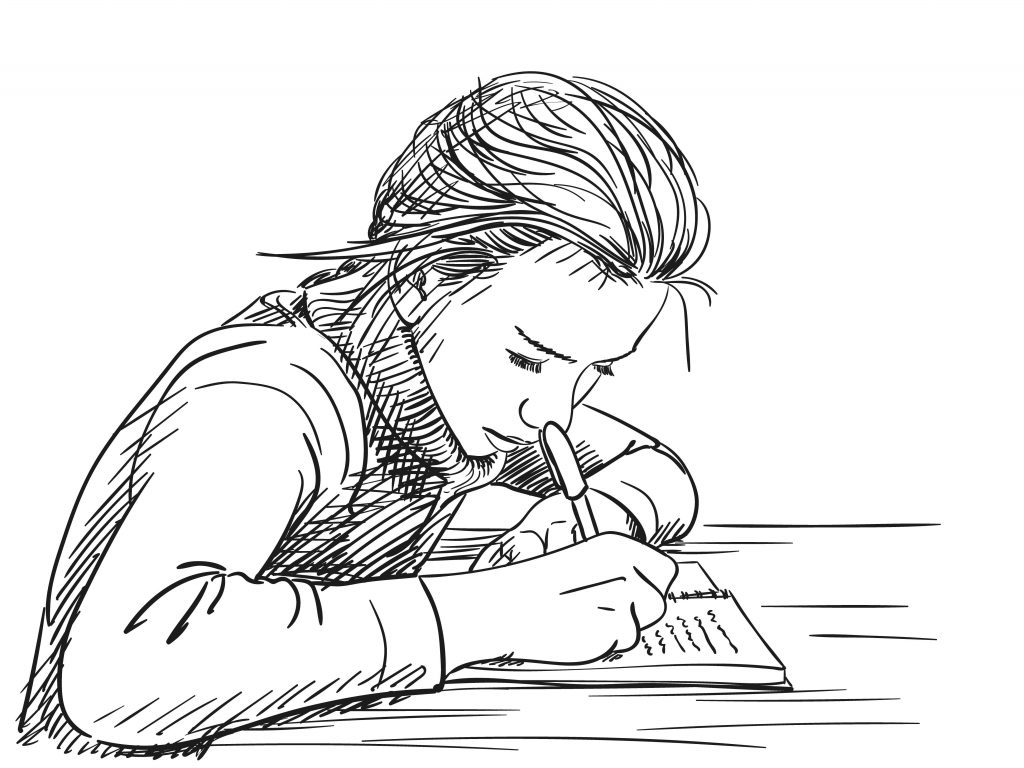 Black and white sketch of girl sitting at a desk writing