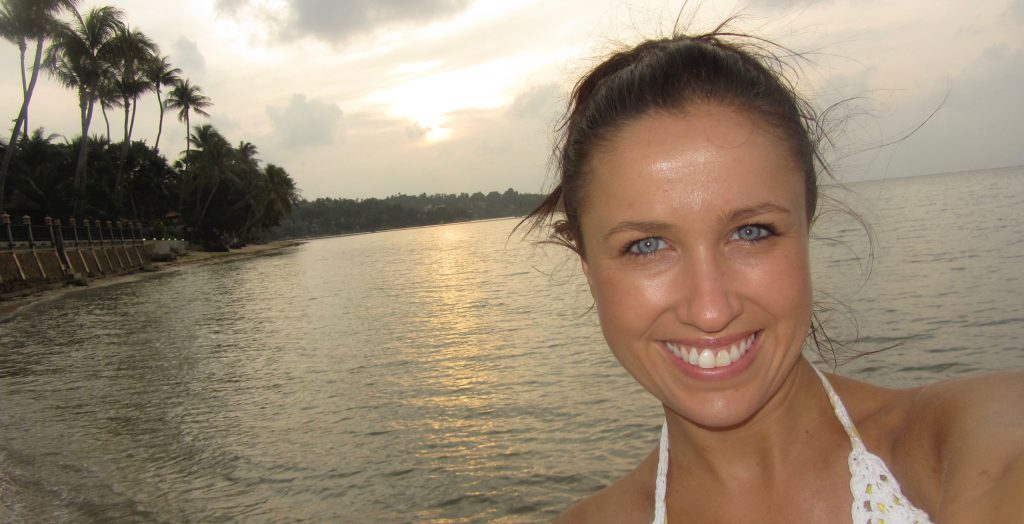 Head shot of Nicole Fitzsimons on a beach at sunset