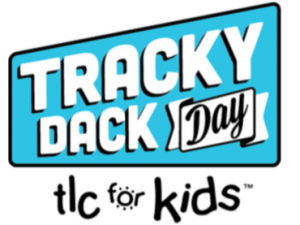 Blue and white Track Dack Day logo