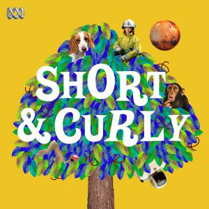 Artwork for Short $ Curly podcast, yellow background with tree with dog, monkey and astronaut in it