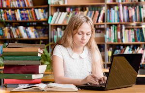 VCE student studying in library