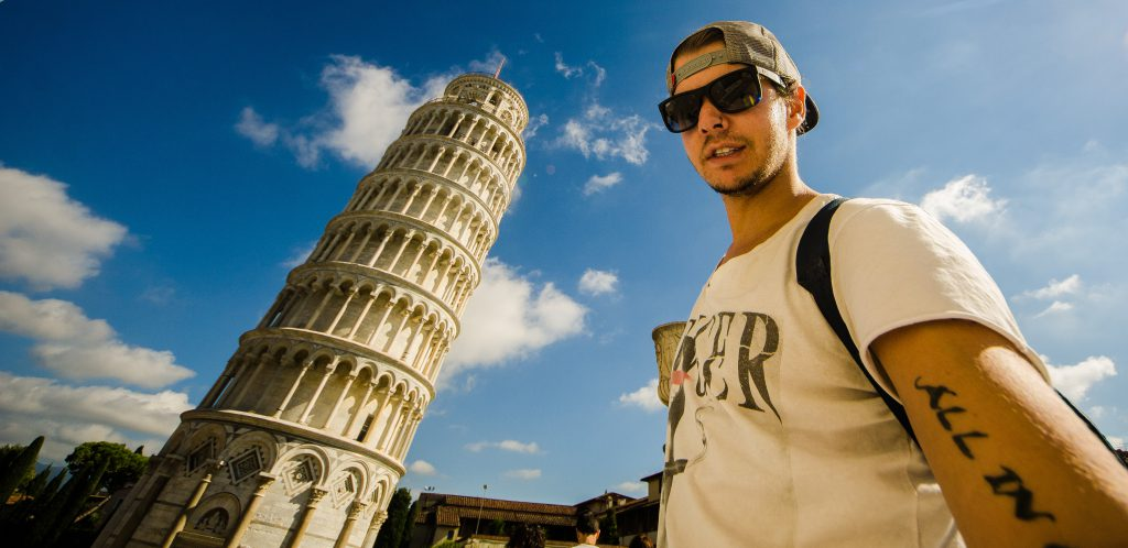Scott Harris at the Leaning Tower of Pisa