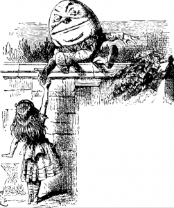 Alice is shaking hand with Humpty Dumpty, who is sitting on top of a wall.