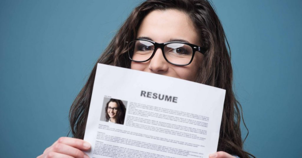 Future of work - girl holding a resume