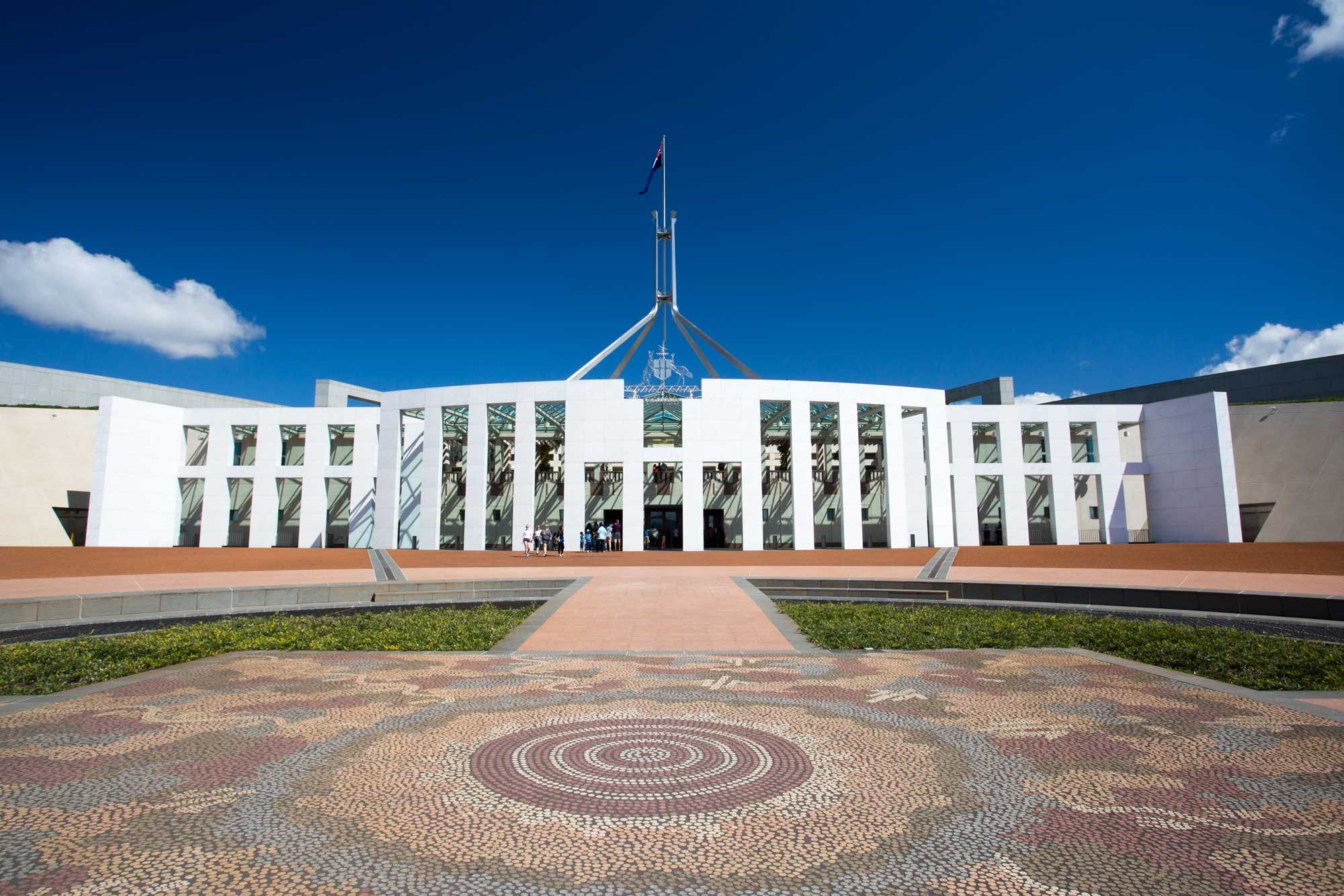 Best of the Wed: School Funding Alarm: Parliament House in Canberra with blue sky