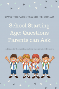 School Starting Age: Questions Parents can Ask. Pinterest infograhic, cartoon of kids starting school
