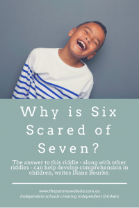 Why is six scared of seven? | image of boy laughing