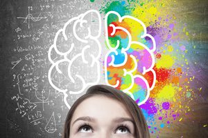 The Parents' Website | Image of girl looking up at a colourful, cartoon brain