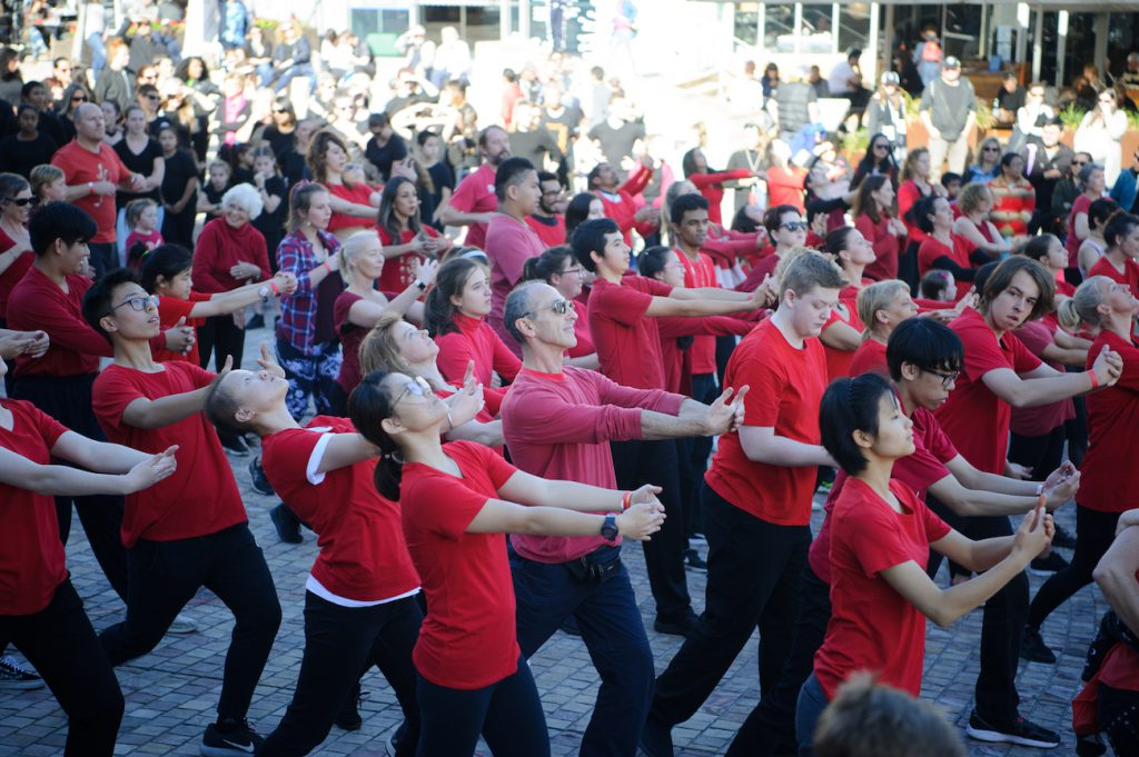 The Big Dance - Arts Learning Festival preview: people in red shirts performing The Big Dance