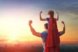 The Parents' Website | Image of father and daughter as superheroes