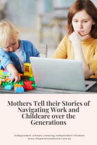 The Parents' Website | Pin image of a mother working while her child plays